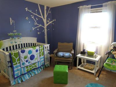 Periwinkle Blue Giraffe Baby Nursery Ideas With