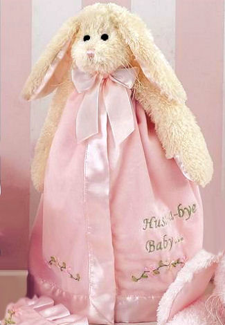 Pink lamb personalized baby blanket for a baby girl