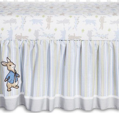 Beatrix Potter Peter Rabbit baby crib bedding set for a baby boy nursery embroidered applique