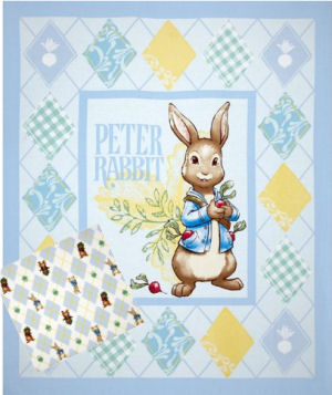 Peter Rabbit fabric panel with coordinating Peter Rabbit baby fabric for bedding and curtains