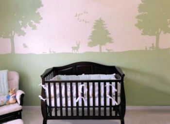 Peter Rabbit nursery for a baby boy with a forest theme DIY painted wall mural
