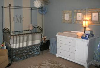 Restful, calming gray nursery room for our baby boy decorated in serene shades of blue, silver and ivory.
