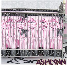 pink and black princess nursery theme crib bedding set