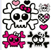 pink and black skulls and crossbones wall stickers decals