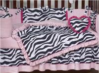 hot pink and black zebra stripes striped stripe baby crib bedding nursery set