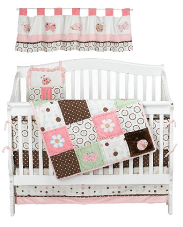 Baby girl pink and brown butterfly and polka dots nursery crib bedding set