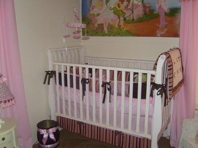 Pink and Dark Chocolate Brown Nursery Bedding and Decor for a Baby Girl