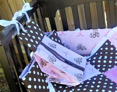 Pink and Chocolate Brown Baby John Deere Nursery Crib Bedding Set with Polka Dots Patchwork Quilt