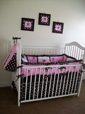 Custom made pink and brown John Deere baby crib bedding set for a girl