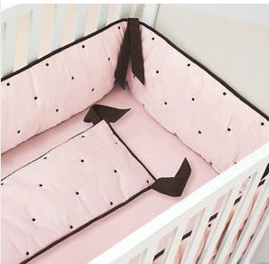 Elegant Pink and Brown Polka Dot Baby Bedding <br>Pink and Brown Baby Girl Nursery Theme Decor