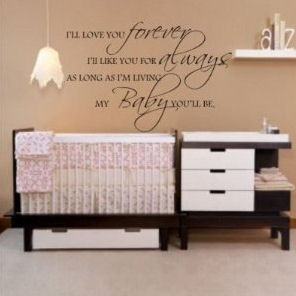 Pink tan and white is the ideal nursery color scheme and the decal wall quote is perfect.