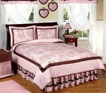 Pink Toile Girls Bedding-Polka Dot Bedding by JoJo Designs.