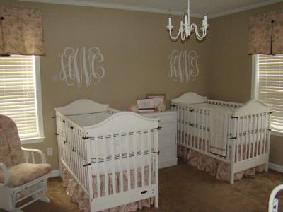 An Elegant Twin Walk In The Park Pink and Brown Toile Baby Girl Nursery Design
