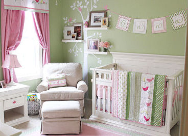 Mint green and pink baby bird theme nursery room for a girl