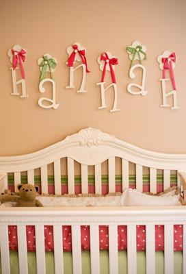 Custom Wall Letters and Crib in our Perfect Pink and Green Nursery for my Baby Princess
