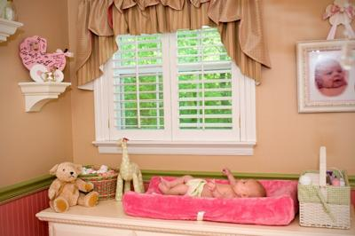 Ruffled Window Valance and Changing Area in my Baby Girl's Pink and Green Nursery