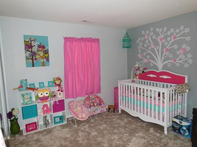 Pink And Grey Baby Girl S Nursery Decorated With Owls