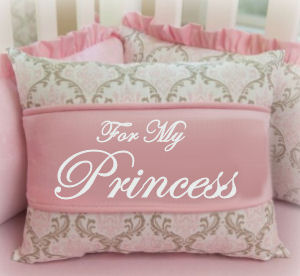 Pink and Grey Baby Girl Crib Bedding for a Princess