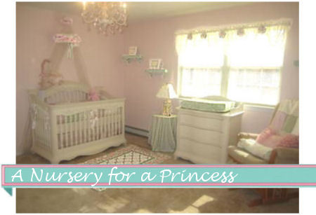 Pink and white princess nursery with crib canopy and tiara crib crown
