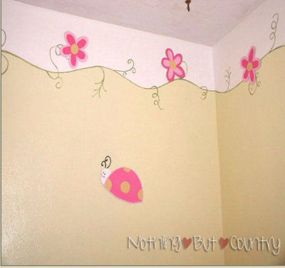 Cool Baby Picture Ideas on Pink  Green And Yellow Floral Theme Nursery Border Painting Technique