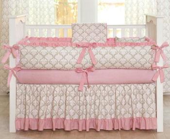 girls pink baby nursery crib bedding set decor
