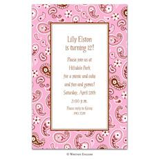 Baby Girl Pink Bandana Baby Shower Invitation