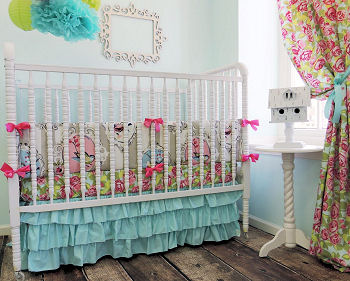 Hot Pink Pastel Wall Stripes Bird Nursery Themed Bedding Decor Baby Crib