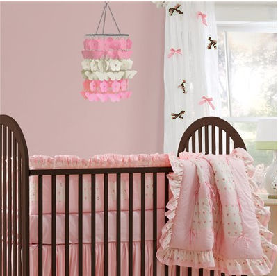 Pink and chocolate brown butterfly theme baby girl nursery room