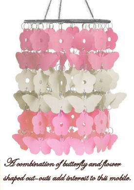 Pink and white butterfly baby crib mobile or nursery ceiling chandelier