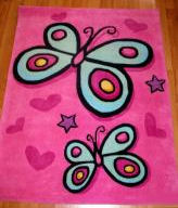 pink girls hot pink butterfly baby nursery area rug
