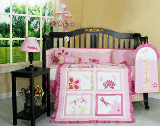 Pink dragonfly nursery design for a baby girl room
