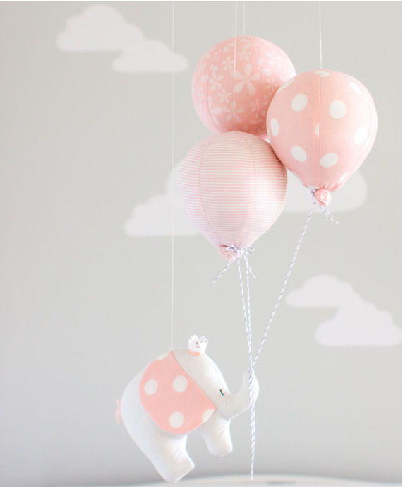 Pink and grey elephant baby mobile with hot air balloons