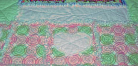 Pink and green flannel rag quilt pattern for a girl