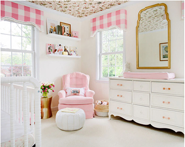 DIY custom sew your own pattern baby girl nursery window treatments in pink gingham checks fabric