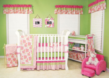 pink and lime green baby nursery bedding crib set hawaiian