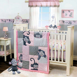 Pink monkey baby crib bedding set for a baby girl nursery theme ideas