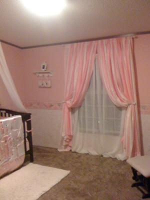 Pink And White Striped Nursery Curtains Full Length Panels Tie Back To Let In Natural
