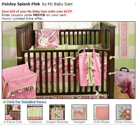pink white and green baby girl bedding nursery crib set