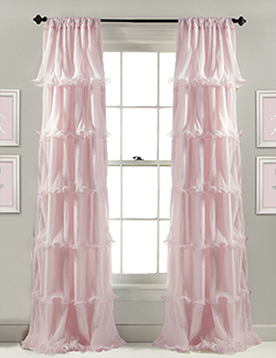 Pink ruffled room darkening curtain panels for a girl nursery or bedroom