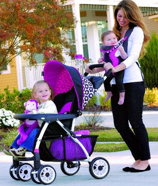 Pink stroller travel system with colorful pink stroller liner