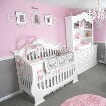 Pink white and grey princess baby girl nursery design