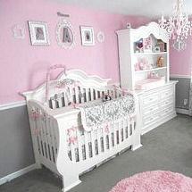 gray and pink baby girl princess nursery