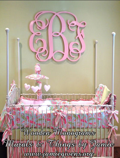 Pink and green baby girl nursery bedding set with Green and Pink Nursery Ideas