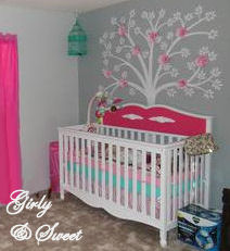 Pink and Gray girly nursery decorated in a baby owl forest theme