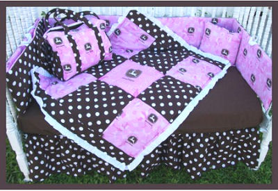 Pink and brown polka dots John Deere baby bedding set with bumper crib quilt skirt and nursery decor