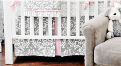 White pink and gray damask baby crib bedding set for a girl's princess nursery room