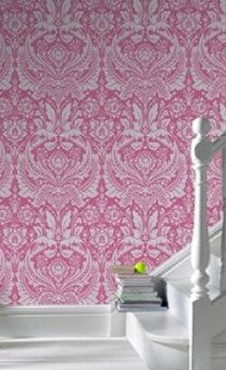 Elegant damask pattern pink and silver wallpaper rolls for a baby girl nursery or big girl room