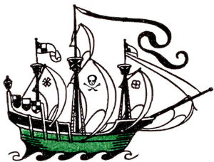 Free pirate ship clip art side view of a pirate ship with tall sails flying the Jolly Roger flag