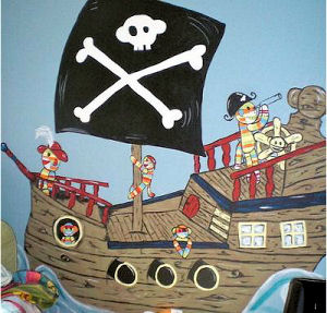 Monkey pirate ship wall mural with Jolly Roger flag painting