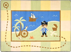 Pirate treasure map baby nursery area throw rug